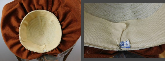 Vintage 1940s Straw & Wool Felt Hat with Wide Wav… - image 10