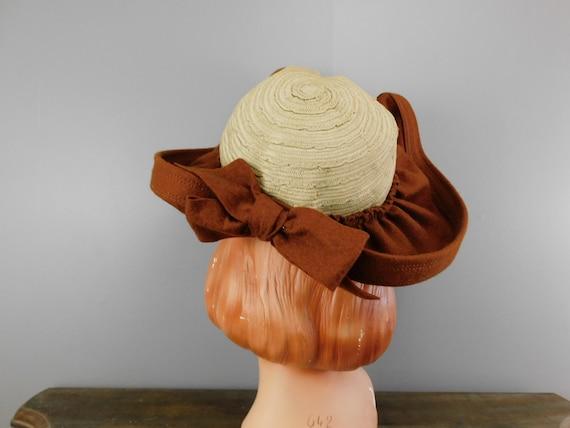 Vintage 1940s Straw & Wool Felt Hat with Wide Wav… - image 6