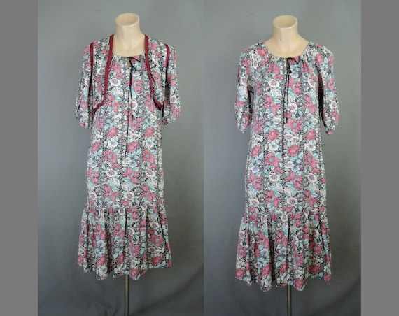Vintage Floral Peasant Dress with Vest, Boho Hippi