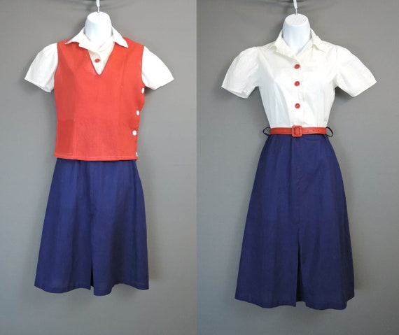 Vintage 1940s Uniform Dress with Smock, fits 32 in