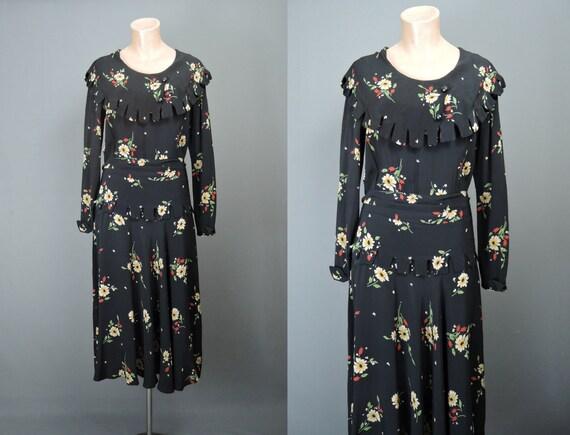 Vintage 1930s Black Floral Dress Rayon, fits 36 in