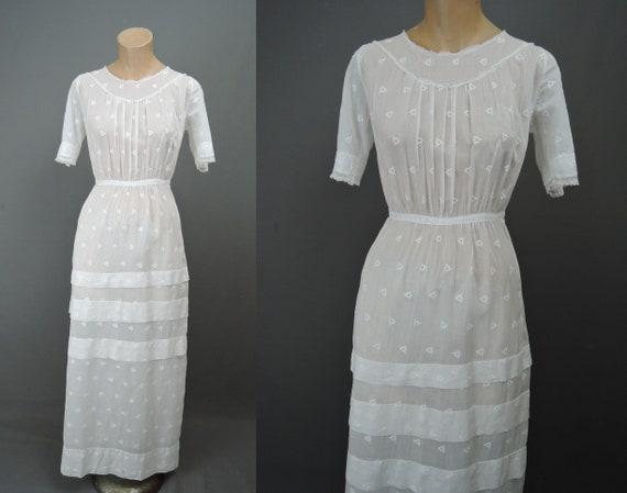 Antique Edwardian Dress White Lawn Cotton, 1900s f