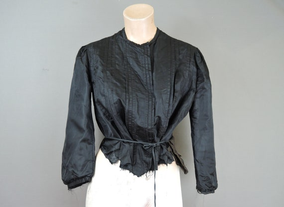 Victorian Black Silk Blouse fits 36 bust, as is wi