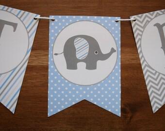 Elephant Baby Shower Decorations - Elephant Baby Shower Banner - Boy Baby Shower Banner - Elephant Pennant Banner - Elephant Decorations