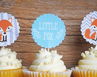 Woodland Cupcake Toppers - Woodland Baby Shower Cupcake Toppers - Woodland Fox Baby Shower Cupcake Topper - Woodland Baby Shower Decorations