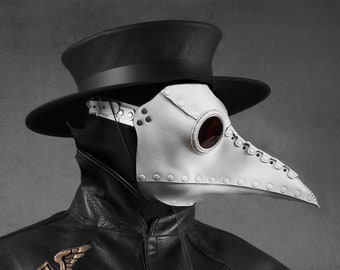 """Plague Doctor mask """"Bubonis"""" in leather white"""