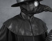 Plague Doctor mantle, shoulder cape in garment leather capelet