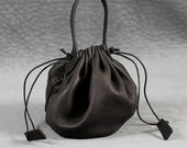 Leather pouch for plague doctor costume in black deerskin