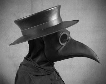 Plague doctor/'s mask cameo of orange roses