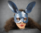 Tatted Bunny mask in pearlescent blue