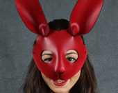 Rabbit mask in leather - Red