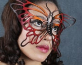 Butterfly leather mask in Orange, Red and Black