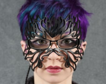 Filigree Flame leather mask in eyeglasses