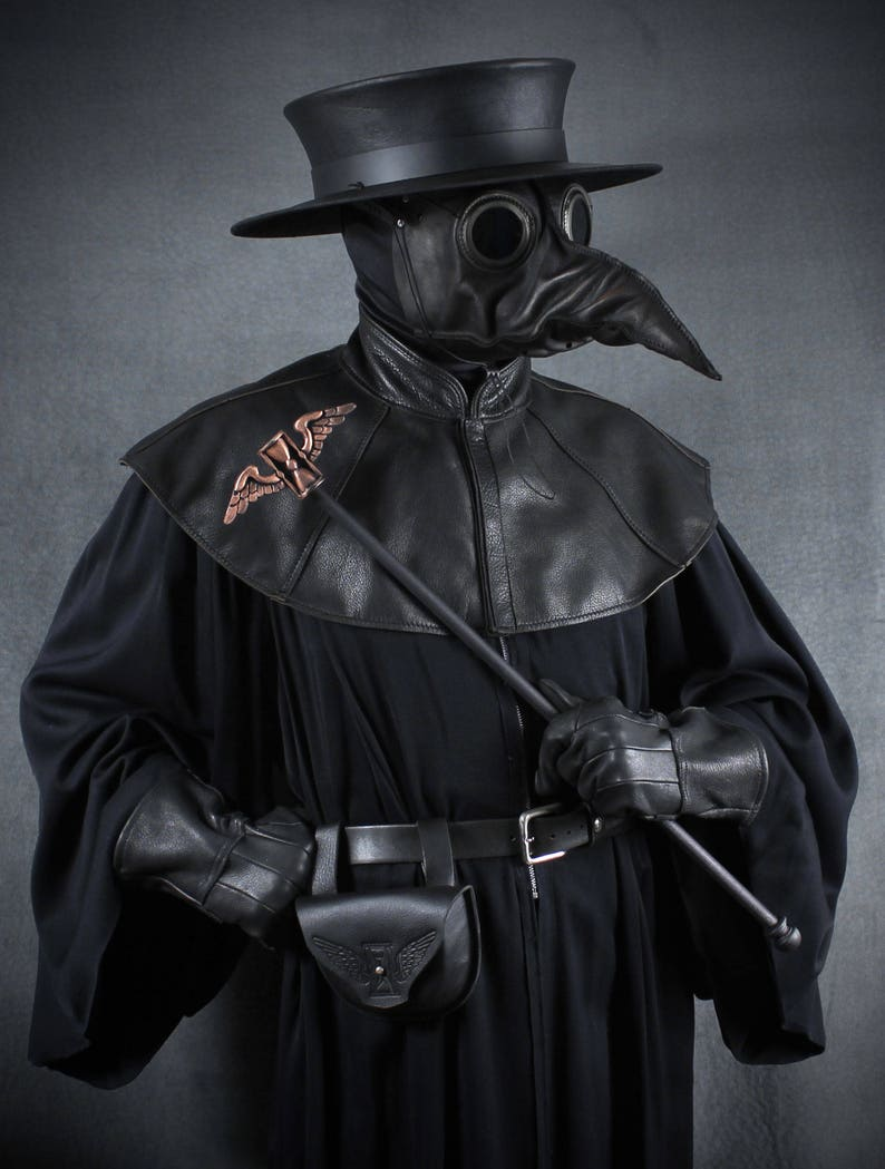 Jackdaw leather plague doctor mask black image 0
