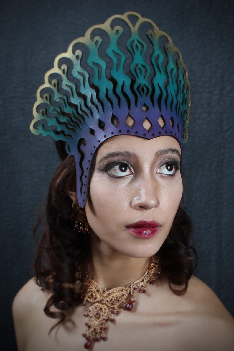 Cleopatra leather headdress in violet teal and gold image 0