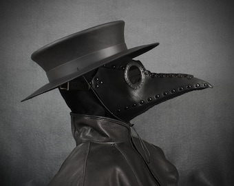 """Plague Doctor mask """"Bubonis"""" in leather black"""