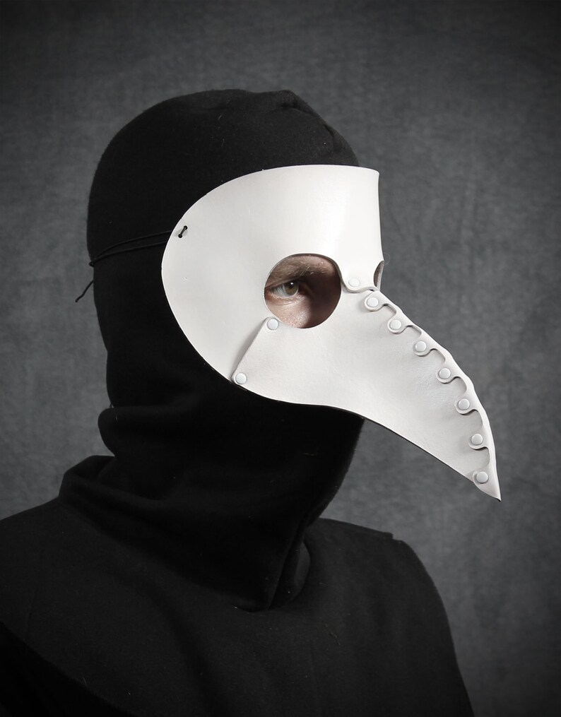 Beak Mask in White Leather image 0