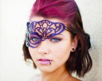 SALE!! Vixen half mask in purple leather