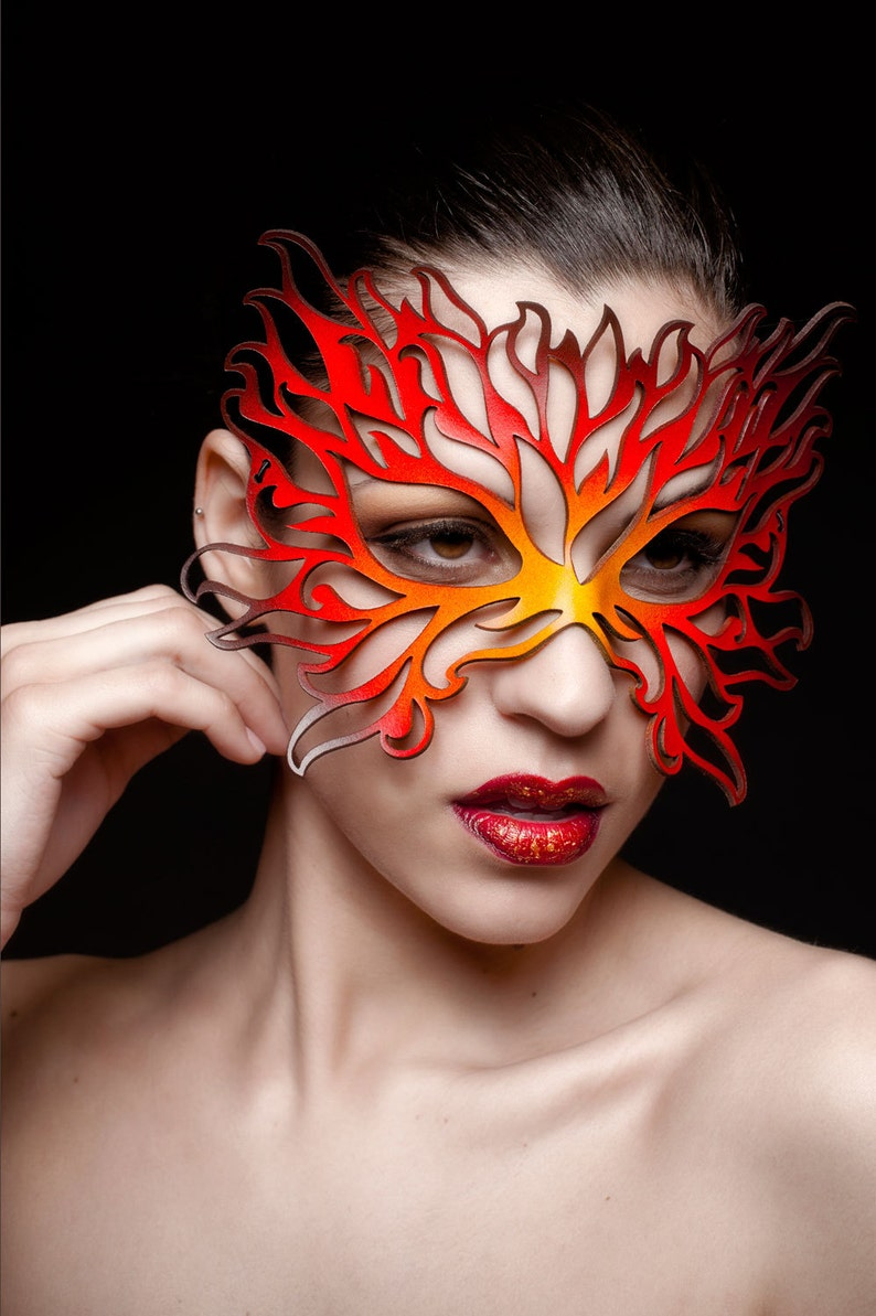 Flames leather mask image 0