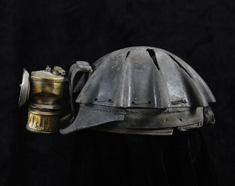 Antique Miner's Turtle Shell Leather Cap Helmet with Carbide Lamp