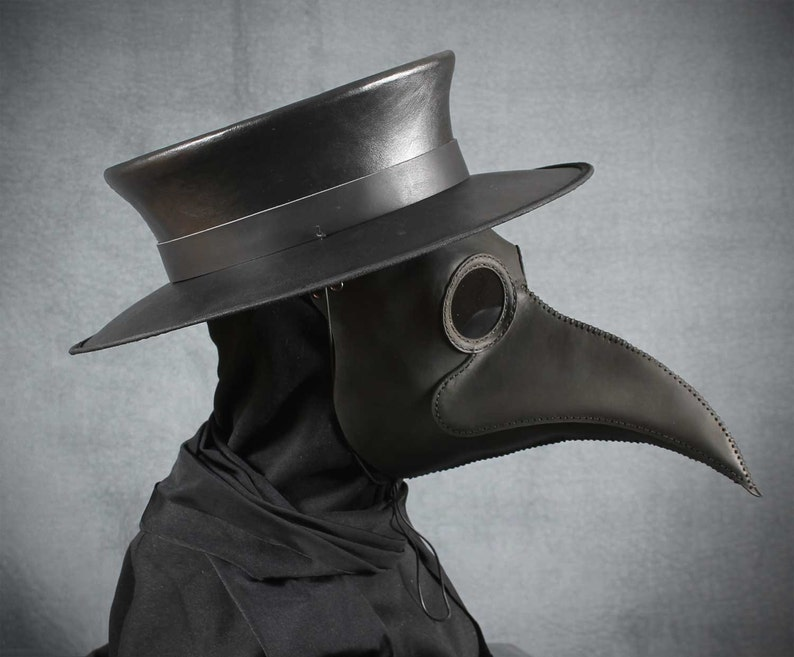 Plague Doctor's mask Maximus in black leather image 0