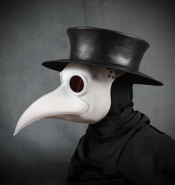 Plague doctors mask maximus in white leather etsy image 0 maxwellsz