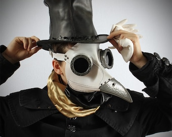Ichabod, Steampunk Plague Doctor Mask in white