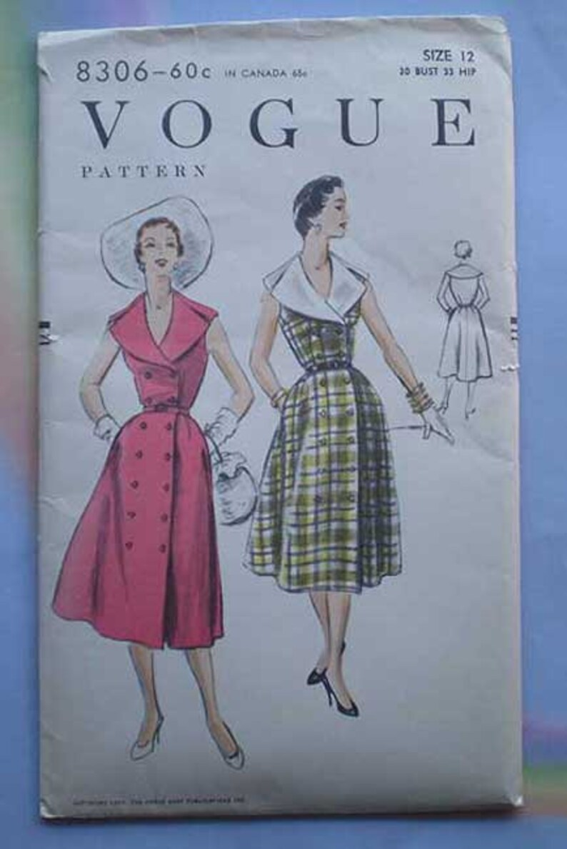 Vintage 50s Double Breasted Dress Unused Vogue Pattern 30 25 image 0