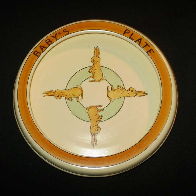 Vintage 20s Roseville Pottery Baby's Plate Standing image 0