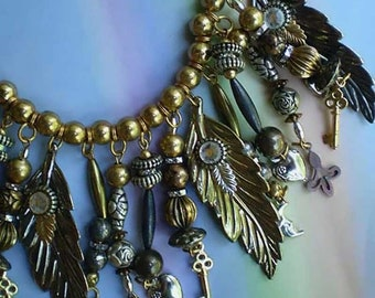 Vintage 80s Charm Necklace Moon Heart Key Leaf Rhinestone