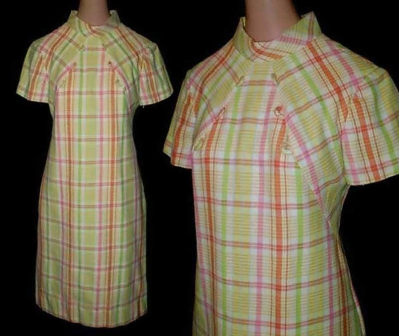 Vintage 60s Dress Preppy Plaid NOS S image 0