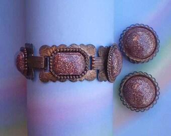 Vintage 50s Bracelet Earrings Copper with Confetti Glass Cabochon