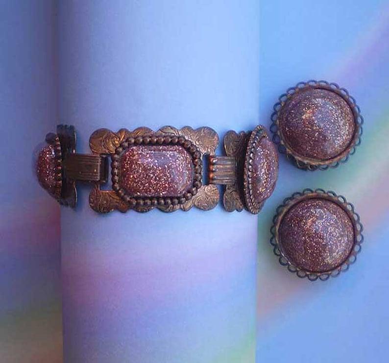 Vintage 50s Bracelet Earrings Copper Confetti Glass Cabochon image 0