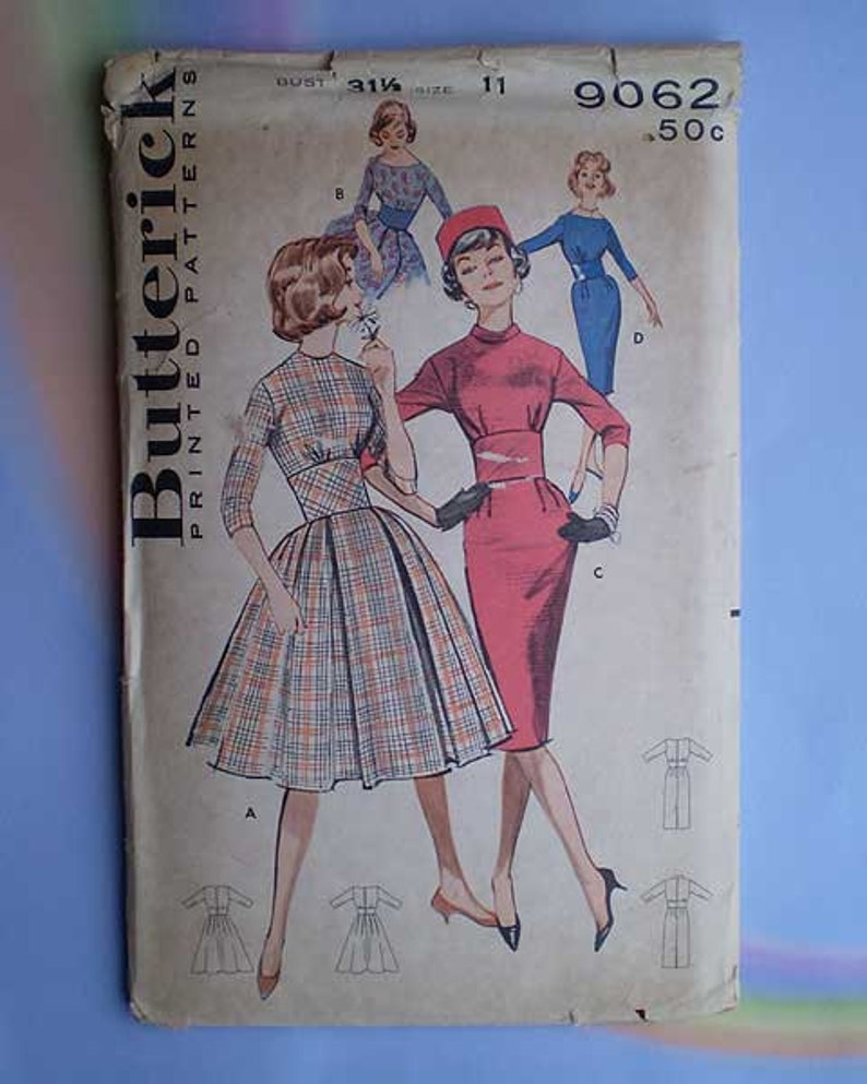 Vintage 50s Slim or Full Skirt Dress Pattern 31 1/2 Bust image 0