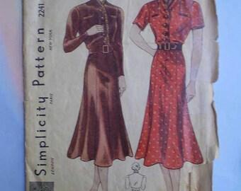 Vintage 30s Gored Skirt Dress Pattern 34 28 37
