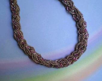 Vintage 80s Seed Bead Torsade Choker Necklace