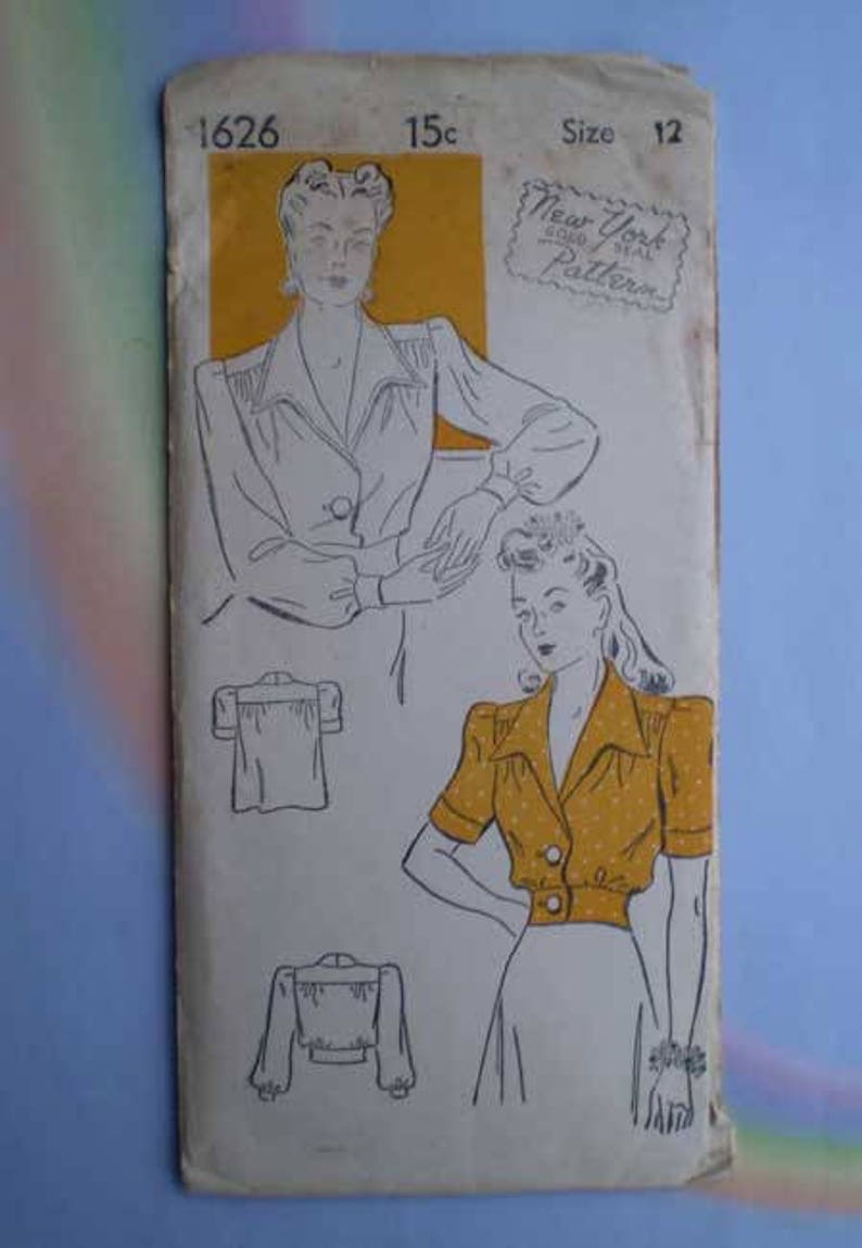 Vintage 40s Blouse Unused Pattern 30 Bust Gold Seal Pattern image 0