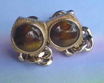 Vintage 70s Swank Tiger Eye Cufflinks Chain Wrap