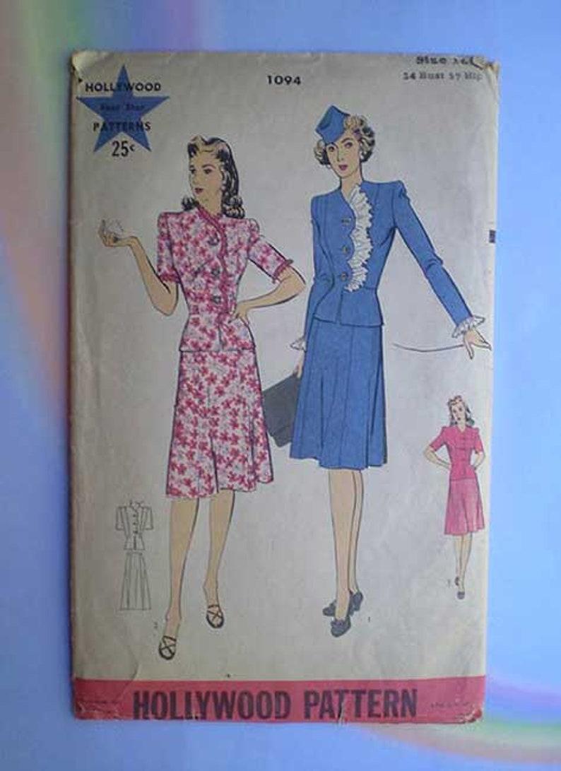 Vintage 40s Hollywood Pattern Peplum Suit 34 28 37 image 0