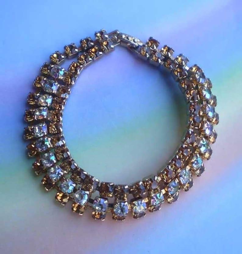 Vintage 50s Aurora Borealis Rhinestone Bracelet image 0