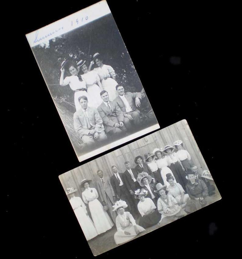 Vintage Lot 2 Antique Postcards RPPC Edwardian Hats Real Photo image 0