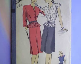 Vintage 40s Hollywood Pattern Two Piece Peplum Dress 34 28 37