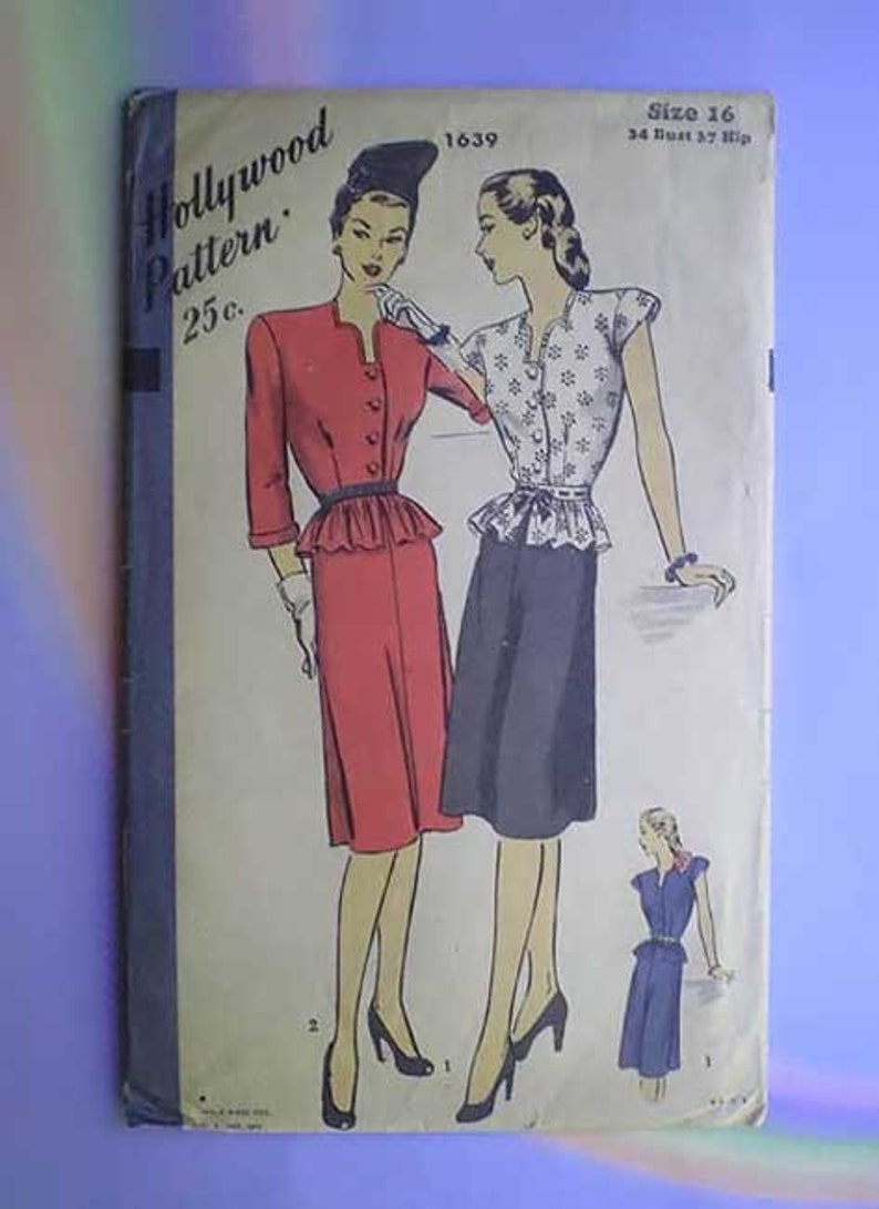 Vintage 40s Hollywood Pattern Two Piece Peplum Dress 34 28 37 image 0