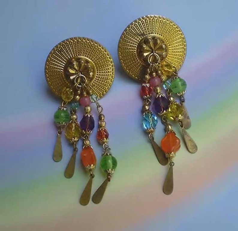 Vintage 80s Katrina Beaded Artisan Earrings image 0