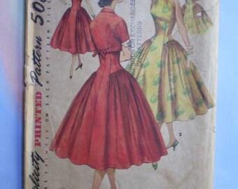Vintage 50s Full Skirt Party Dress with Bolero Uncut Pattern 30 24 33