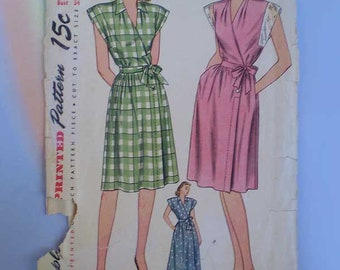 Vintage 40s Wrap House Dress and Housecoat Pattern FF 34 28 37