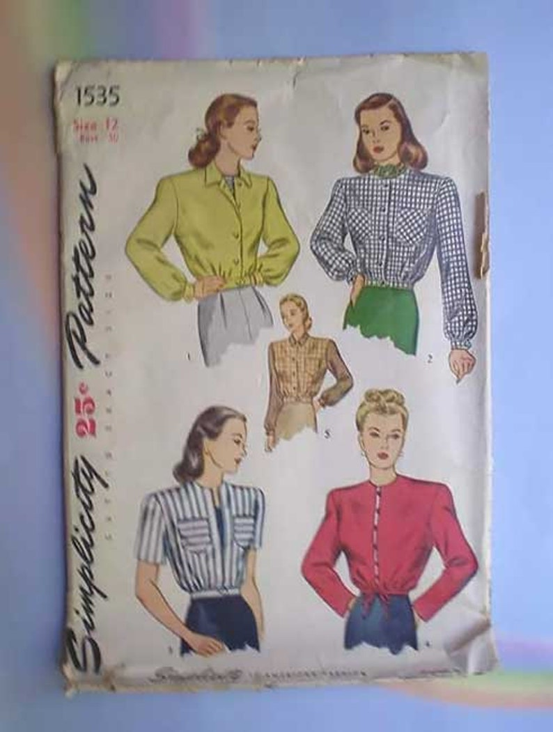Vintage 40s Waist Jacket Unused Pattern 30 XS image 0