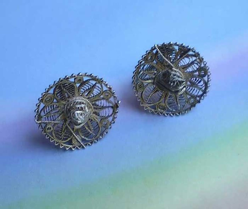 Vintage 40s Silver Filigree Mexican Sombrero Earrings image 0