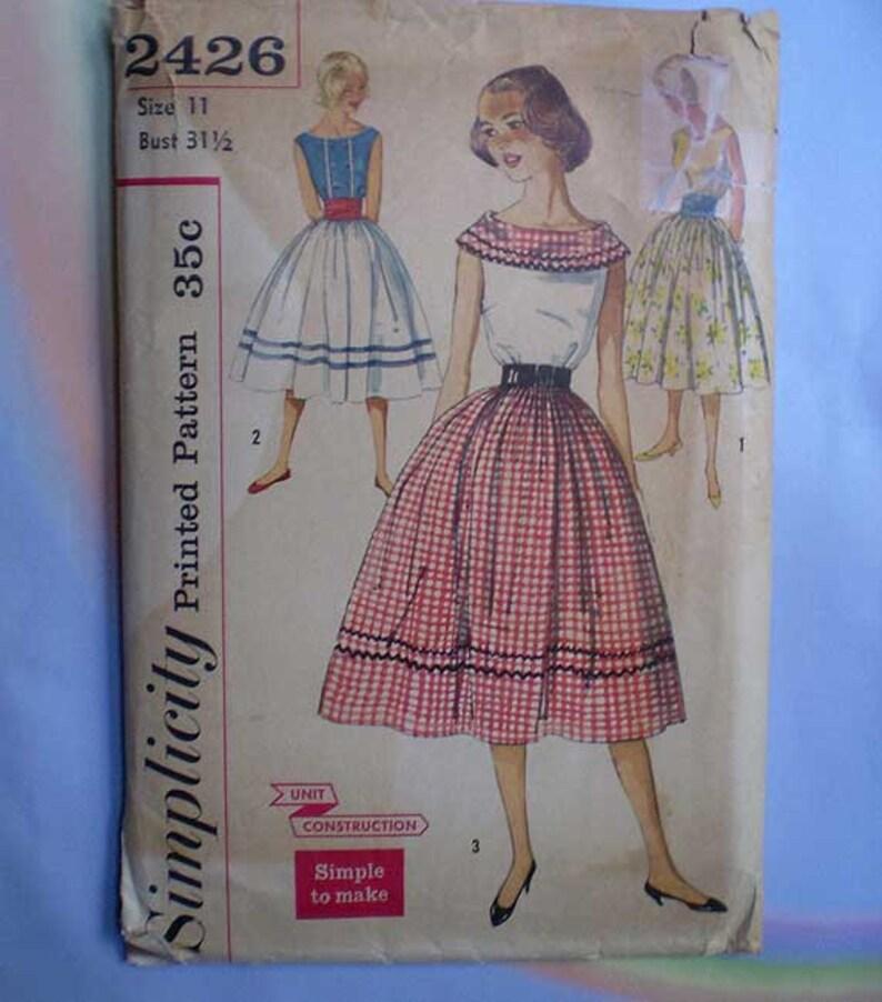 Vintage 50s Full Skirt Blouse Cummerbund Pattern 31 1/2 image 0