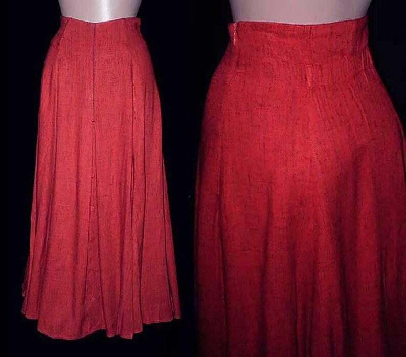 Vintage 80s High Waisted Skirt Red Black Fleck  S image 0